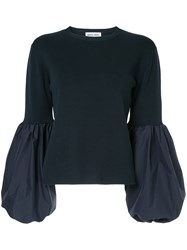 Muveil Blouson Sleeves Sweater Blue