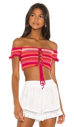 All Things Mochi Willie Bandeau Top In Pink. Red