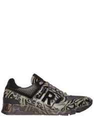 John Richmond Tattoo Printed Leather Running Sneakers Green Black