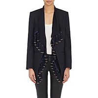 Foundrae Women's Collarless Blazer And Tasseled Vest Navy