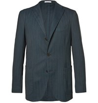 Boglioli Blue Slim Fit Herringbone Stretch Wool Blend Blazer Blue