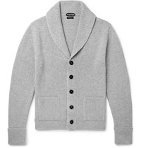Tom Ford Steve Mcqueen Shawl Collar Ribbed Cashmere Cardigan Gray