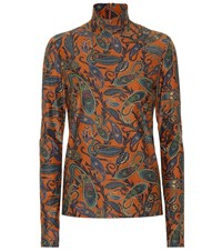 Chloe Printed Stretch Turtleneck Top Multicoloured