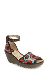 Fly London Women's Yeji Sandal Peach Aqua Multi Leather