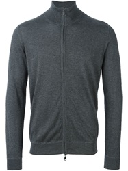 Laneus Roll Neck Zipped Cardigan Grey