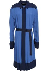 Piazza Sempione Woman Belted Pleated Crepe Shirt Dress Royal Blue