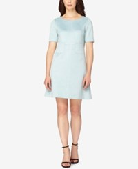 Tahari By Arthur S. Levine Asl Faux Suede A Line Dress Blue Mist