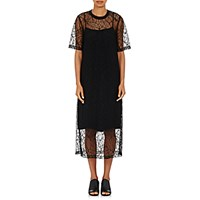 R R Studio Women's Lace Elongated T Shirt Dress Black Blue Black Blue
