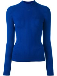 Courreges Ribbed Knitted Top Blue