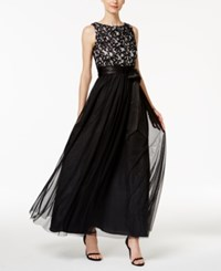 Jessica Howard Sequined Lace Mesh Gown Black Ivory
