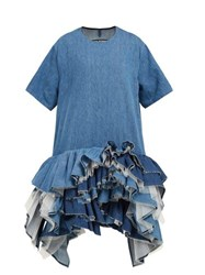 Junya Watanabe Ruffled Tulle Tier Cotton Blend Denim Dress Blue