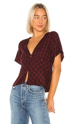 Sanctuary New Moon Short Sleeve Top In Red. New Generation Plaid
