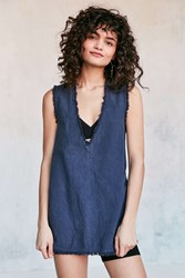 Silence And Noise Deep V Frayed Denim Hem Tank Top Navy