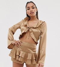 Missguided Petite Exclusive Co Ord Tie Front Satin Blouse With Frills In Gold