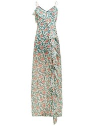 Raquel Diniz Stella Ruffle Floral Print Silk Maxi Dress Green Multi
