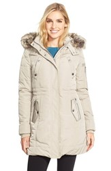 Women's Bcbgeneration Faux Fur Trim Hooded Quilted Coat