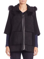 Elie Tahari Joey Fur Trimmed Shearling Cape Jacket Black