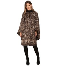 Alberta Ferretti Leopard Cape Sleeve Open Front Jacket Camel Women's Coat Tan
