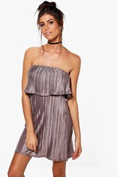 Boohoo Margot Fine Pleat Double Layer Mini Dress Silver