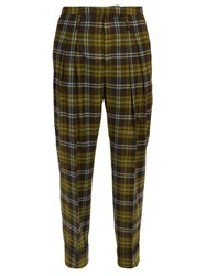 Connolly High Rise Check Wool Trousers Green