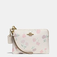 Coach Small Wristlet In Daisy Field Print Coated Canvas Light Gold Daisy Field Beechwood