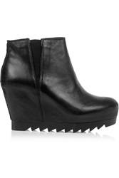 Ash Hello Leather Wedge Ankle Boots Black