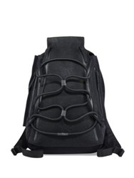 Y 3 Leather Blend Medium Backpack Black