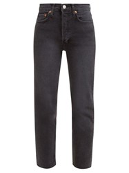 Re Done Originals Stove Pipe High Rise Straight Leg Jeans Black