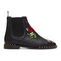 Charlotte Olympia Black Floral Studded Chelsea Boots