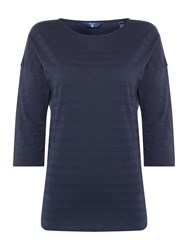 Gant Striped Scoop Neck 34 Sleeve Top Blue