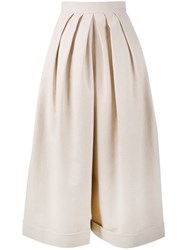 Delpozo Cropped Pleated Trousers Nude And Neutrals