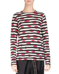 Proenza Schouler Long Sleeve Floral Striped Tee Pink