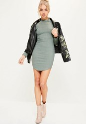 Missguided Green Curve Hem High Neck Ribbed Bodycon Dress