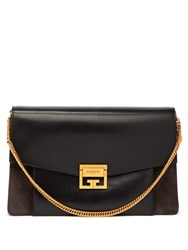 Givenchy Gv3 Large Suede And Leather Cross Body Bag Black Grey