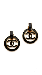Wgaca Vintage Chanel Enamel Cc Circle Earrings Gold