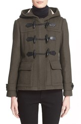 Women's Burberry Brit 'Blackwell' Short Wool Duffle Coat Dark Olive