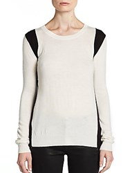 Saks Fifth Avenue Red Racing Stripe Sweater White Black