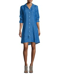 Frank And Eileen Murphy Button Front Linen Shirtdress Blue