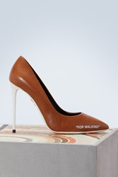 Off White For Walking Leather Pumps Brown