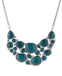 Lucky Brand Silver Tone Pave Blue Stone Statement Necklace