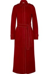 Gabriela Hearst Belted Suede Coat Red