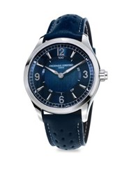 Frederique Constant Horological Porous Leather Strap Smart Watch Navy Blue