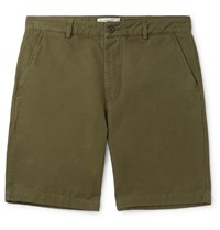 Universal Works Slim Fit Garment Dyed Cotton Canvas Shorts Green