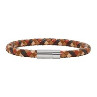 Paul Smith Brown And Black Leather Plait Bracelet