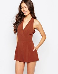 Love Playsuit With Pleated Bust Rust Orange