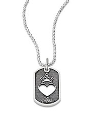 Saks Fifth Avenue Sterling Silver Cutout Heart Dog Tag Necklace
