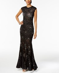 Betsy And Adam Embellished Lace Mermaid Gown Black Silver