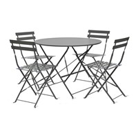 Garden Trading Rive Droite Bistro Table And Chairs Set Carbon 4 Chairs