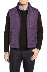 Bugatchi Men's Uomo Hooded Quilted Vest Plum