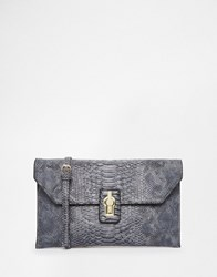 Glamorous Clutch Bag In Faux Snakeskin Grey